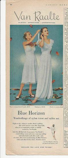 1951 VAN RAALTE Blue Horizon SLIP & NIGHTGOWN Nylon Tricot Vintage LINGERIE Ad