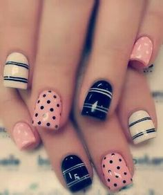 Maybe you are already planning on buying some clothes of these two colors. But do you know how to wear them on your nails? For today, I'd like to show you 12 rose quartz nail designs for 2016 Get Nails, Fancy Nails, Love Nails, Pretty Nails, White Nail Designs, Nail Art Designs, White Nails, Pink Nails, Black Nails