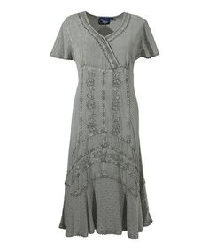 This Sage Green Empire-Waist Dress - Plus Too is perfect! #zulilyfinds