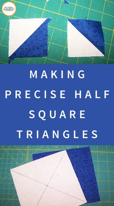 Precision Quilt Piecing Part Half-Square Triangles While there are multiple techniques for quilt piecing half-square triangles, I find the most efficient method is to obtain half-square triangles units from a square. Other techniques require working wit Half Square Triangle Quilts Pattern, Half Square Triangles, Square Quilt, Squares, Quilting Tips, Quilting Tutorials, Sewing Tutorials, Triangle Quilt Tutorials, Quilting Patterns