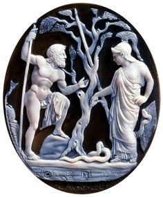 Cammeo con Poseidone e Atena, agata e onice, Museo Archeologico Nazionale, Napoli.