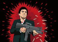 Kunstwerk: 'Tony Montana (Scarface)' van Jarod Art Graffiti Cartoons, Dope Cartoons, Dope Cartoon Art, Scarface Poster, Scarface Movie, Montana, Mexico Art, Graffiti Wallpaper, Movie Themes