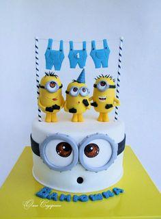 Fondant Minions, Minion Cupcakes, Minion Birthday, Minion Party, Baby Boy Birthday, Birthday Cakes, Happy Birthday, Fondant Cakes, Puddings