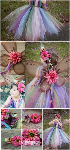 Woodland Fairy Costume Idea. This set comes with a pixie cut tutu dress, sparkly glitter wings, and a pretty wreath. Peter Pan & Tinkerbell garden nymph or renaissance fair fall pageant outfit. I would rather buy it than DIY personally. ♥