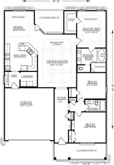 Bungalow Country Craftsman House Plan 74760 Level One