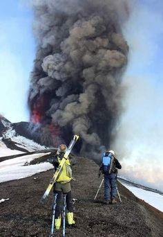 Skiën van lavaspuwende vulkaan de Etna