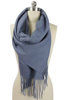 Cashmere Wool Scarf In Charcoal Gray.