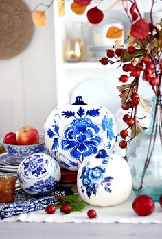 Blue Porcelain Craft Pumpkin and Free Printable
