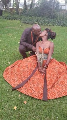 Tswana Traditional Wedding Attire For Couples 2020 Images Traditional Wedding Attire, African Traditional Wedding, Traditional Dresses, African Wedding Attire, African Attire, African Weddings, African Print Dresses, African Dress, African American Brides