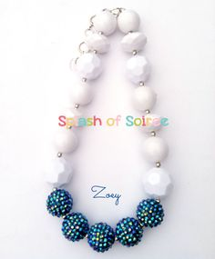 Chunky Bead Necklace-Bubble Gum Necklace-Blue and White Chunky Necklace-Baby Chunky Necklace-Little Girl Necklace-Chunky Necklace-Necklace