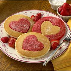 Perfect Heart-Shaped #Pancakes for Valentine's Day. Maybe a pinky Purple Heart with beet juice for color.