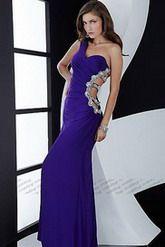 イブニングドレス ワンショルダー フロア パープル