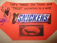 Halloween Trick or Treat- coach's gift Football Favors, Football Team Spirit, Football Player Gifts, Football Treats, Football Banner, Football Quotes, Cheer Coaches, Cheer Mom, Cheer Stuff