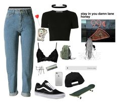 """""""skate = life"""" by valxgrunge ❤ liked on Polyvore featuring Agent Provocateur, Rosetta Getty, 2028, Vans, Boohoo and BOBBY"""