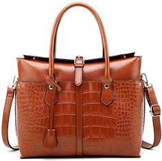 Amazon.com: Pahajim Womens PU Leather Crocodile Handbags Top-Handle Satchel Bags Purses and Handbags for Women (Brown): Clothing