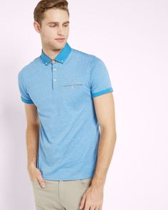 Rolled cuff cotton polo shirt - Light Blue | Tops & T-shirts | Ted Baker ROW