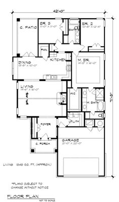 First Floor Plan of Cottage Country Craftsman House Plan 74504