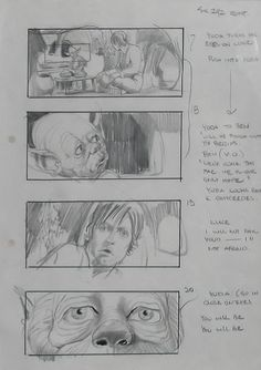 This Star Wars storyboard does a great job of capturing the seriousness of Yoda when it comes to training Luke. The last image with the close up of his big and somber eyes really gives the story its mood.