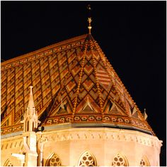 they looked so pleasant. Those colourful tiles on St. Matthias Church roof. Budapest, Hungary