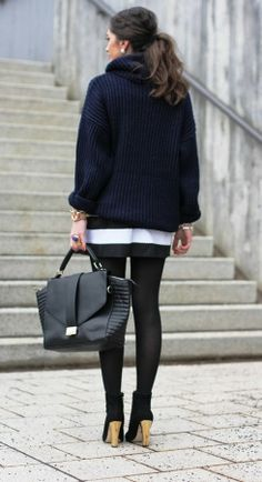 Cozy High neck cable knit sweater and striped skirt