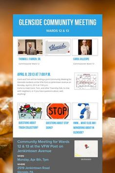 Glenside Community Meeting, April 8, 2013 at 7:00 p.m.