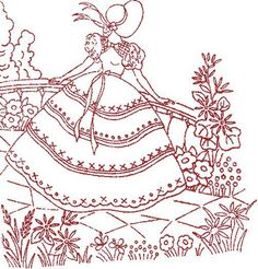 redwork embroidery belle3 by frambozerood, via Flickr