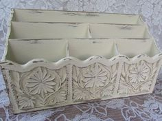Shabby Chic Decor, Vintage Desk Organizer, Bills, Letter Holder, Home Office Decor, Cottage Chic, French Country Decor on Etsy, $32.00