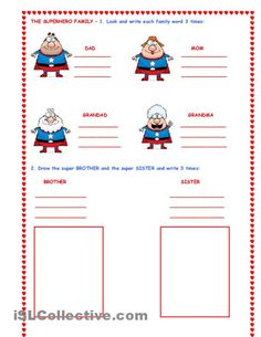THE SUPER HERO FAMILY worksheet - iSLCollective.com - Free ESL worksheets