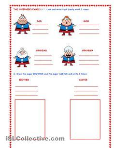THE SUPER HERO FAMILY worksheet - iSLCollective.com - Free ESL worksheets