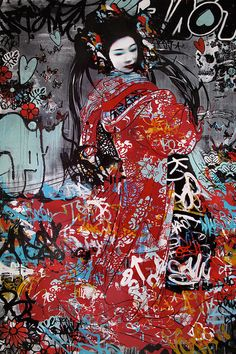 New Street Art Stencil Life Ideas Graffiti Art, Pop Art, Foto Gif, Urbane Kunst, Geisha Art, Best Street Art, Easy Art Projects, Collage Artists, Stencil Painting