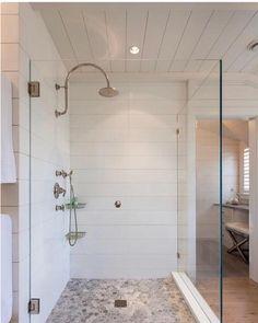 ideas bathroom shower diy walk in pebble floor Shower Floor Tile, Shower Wall Panels, Bathroom Floor Tiles, Corian Shower Walls, Tile Bathrooms, Tub Tile, Shiplap Bathroom, Master Bathroom Shower, Bathroom Shower Curtains