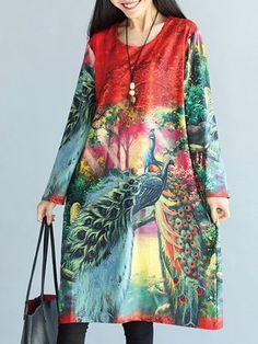 Women Vintage Animal Printed Midi Dress