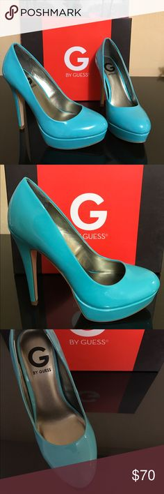 G by Guess Turquoise Stilettos These turquoise patent leather heels are perfect for spring! They have only been worn once and have absolutely no marks or scuffs on them. 5in heel with 1/2in platform. G by Guess Shoes Heels