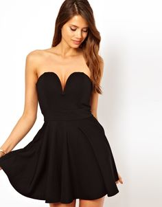 fit and flare dress with plunge v neck