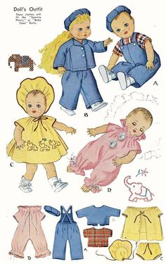 Vintage Doll Clothes PATTERN 1549 for 20 in Sprakle Plenty Baby Coos by Ideal