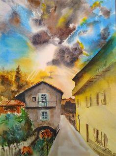 Bagnasco (CN - Italy), via Fossato. Watercolor cm 28x38 on Fabriano Artistico cold pressed 300 gpm paper