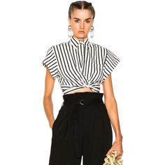 T by Alexander Wang Striped Cotton Twist Front Crop Short Sleeve Shirt ($250) ❤ liked on Polyvore featuring tops, fashion tops, white shirts, white short sleeve top, striped top, white tops and striped crop top
