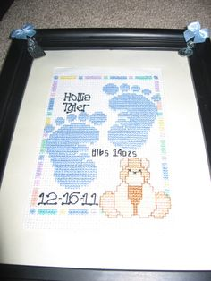 Baby Girl/Baby Boy Birth Announcement Cross Stitch - Multiple Styles Available  by craftyjayney on Etsy, $25.00