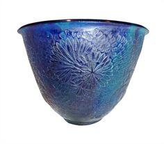 François-Emile Décorchemont, vase pâte de verre chrysanthèmes, turquoise et outremer, vers 1924