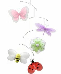Amazon.com: Multi Layered Butterfly Dragonfly Ladybug Flower Bee Nylon Mobile Decorations - Decorate for a Baby Nursery Bedroom, Girls Room ...