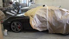 Porsche en peinture polissage avant. Carrosserie inter-union - 53 route de suisse, 1295 Mies Tél.022 755 45 30 - Fax. 022 779 03 28 Site internet: www.interunion.ch