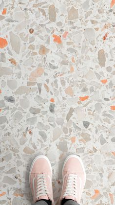 Orange Flick Terrazzo Vinyl Flooring Orange Flick Terrazzo Vinyl Flooring Julian Hensch Raumfalter Innenarchitektur Pattern 038 Texture 038 Material Terrazzo flooring is hot in the interior world this season and nbsp hellip Vinyl Flooring Kitchen, Kitchen Vinyl, Bathroom Flooring, Tile Patterns, Textures Patterns, Diy Inspiration, Terrazzo Flooring, Concrete Floors, Floor Colors