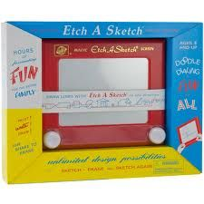 One Christmas, my sister and I got an Etch A Scetch to share.