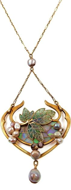 Art Nouveau Era Pendant ~ Designed by Georges Fouquet.  Gold, Green enamel and freshwater pearls.