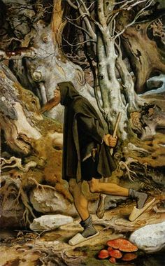 Moritz von Schwind's 1851 painting Ruebezahl features Amanita Muscaria - Magical Mushrooms or Fly Agaric in the common language, just below his main shoes Moritz Von Schwind, Red And White Mushroom, Christmas Tale, Landscape Drawings, Fantasy Rpg, Illustrations, Fantastic Art, Mythical Creatures, Faeries