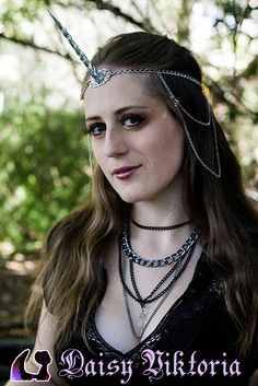Unicorn Circlet with Chains and Small Filigree - Silver, Black, or White