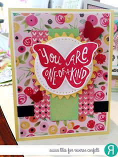 Card by Susan Liles. Reverse Confetti stamp set: Butterfly Dreams. Confetti Cuts: Butterfly Dreams, Flowers for Mom and Double Panel Hearts. Mother's Day card. Birthday card. Thank you card. Encouragement card.