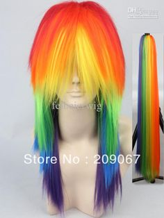 Wholesale Cosplay Costume - Buy My Little Pony Rainbow Dash Cosplay Costume Wig + Tail- Friendship is Magic Anime Party Wig Free Shipping, $43.18 | DHgate