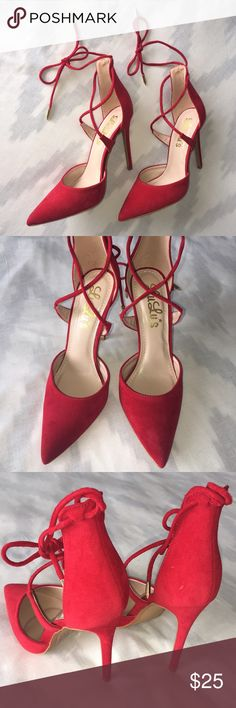 Lulu's Red Pointed Toe Pumps Purchased from Lulu's and worn once. Beautiful bright red color with a pointy toe and wraps and ties around ankle. Approx. 4 inch stiletto heel. Women's size 8. Lulu's Shoes Heels