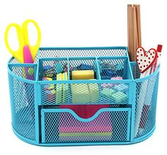 PAG Office Supplies Mesh Desk Organizer Desktop Pencil Holder Accessories Caddy with Drawer 9 Compartments Blue